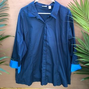 Rider casual button down blue top